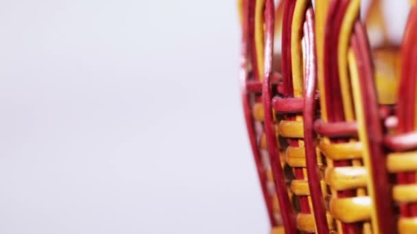 Rotating woven empty basket — Vídeo de stock