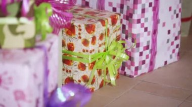 Boxes with gifts — Stock Video