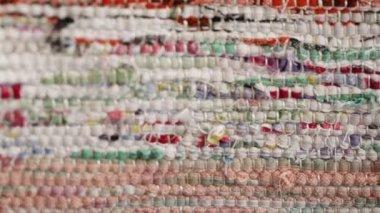 Texture of homespun fabrics — Stock Video