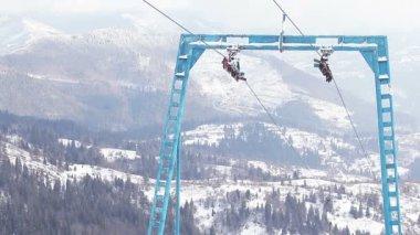 Part of ski lift — Video Stock