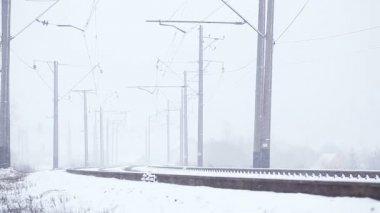 Snowy railway — Stock Video