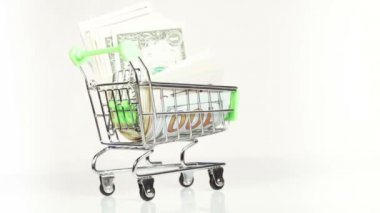 Dollars in cart — Stockvideo