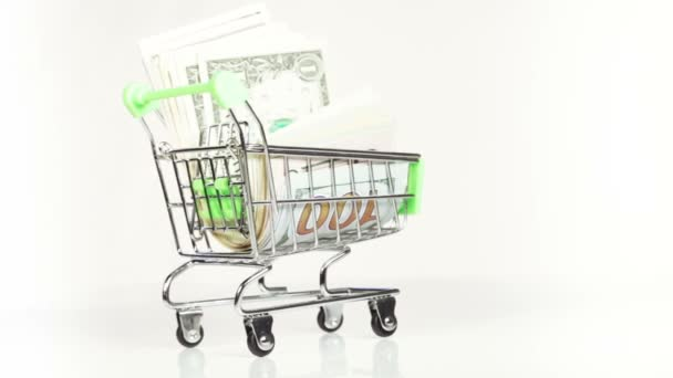 Dollars in cart — Vídeo de stock