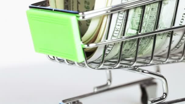 Dólares en carro — Vídeo de stock