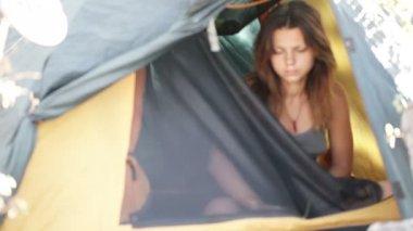 Morning in tent — Stockvideo