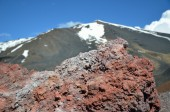 Close-up of hardened lava against the mount Etna — Stock Photo