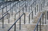 Stone steps with rails — Stock Photo