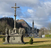 Winter view of Lourdes — Foto Stock