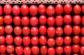 Easter background of the red eggs — Stockfoto