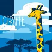 Cartoon Giraffe in Savanna — Stock Vector