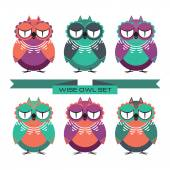 Wise owl set — Stock Vector
