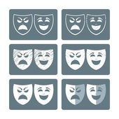 Set of theater masks — Stock Vector