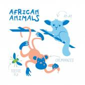 Set of african animals drawn in flat style — Stock Vector