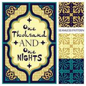 Ornamental frame in arabian style and set of seamless oriental patterns — Stockvektor