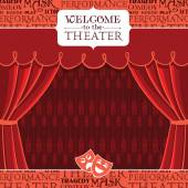 Red theater curtains with decorative elements. Vector illustration — Stock Vector