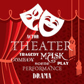 Theater curtains with masks and title in different fonts — Stock Vector