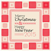 Merry Christmas and Happy New Year text composition with decorative frame in vintage style — Vector de stock