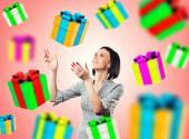 Girl with a gifts — Stock Photo