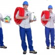Plumber with an energy rating card and laptop — Stock Photo #59419747