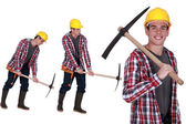 Construction worker with a pickaxe — Stock Photo