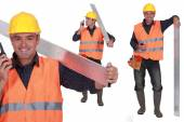Worker with a walkie talkie — Stock Photo