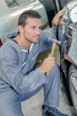 Car body-shop worker — Stock Photo