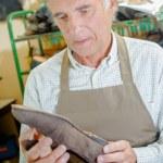 Cobbler holding shoe — Stock Photo #71468211