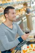 Having cheese and wine for lunch — Stock Photo