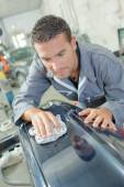 Polishing a car — Stock Photo