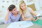 Couple checking their financial situation — Stock Photo