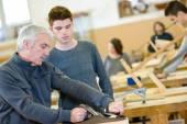 Woodwork apprenticeship — Stock Photo