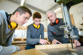 Male students in a woodwork class — Stock Photo