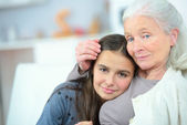 Spending time with grandma — Stock Photo