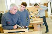 Woodwork apprenticeship — Stock Photo