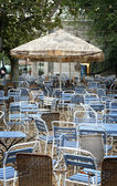 Cafe or restaurant tables outside — Stock Photo