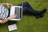 Teenage girl with laptop — Stock Photo