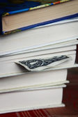 Book with one dollar bookmark — Stock Photo