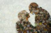 Double exposure of couple kissing over fall background — Stock Photo
