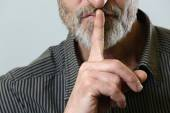 Finger on lips - silent gesture — Stock Photo