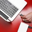 Top view of female hand connecting external hard drive to laptop — Stock Photo #69527761