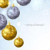 Silver and golden Christmas balls. — Stock Vector