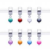 Assorted metal charm bead pendants — Stock Vector