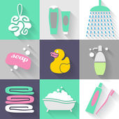 Set of bathroom icons — Stock Vector