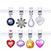 Assorted metal charm pendants — Stock Vector