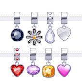 Assorted metal charm pendants — Stock Vector