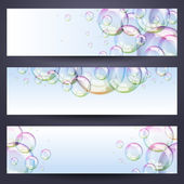 Set of banners with soap bubbles — Stok Vektör