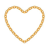 Golden chain shaped in heart form — Stockvector