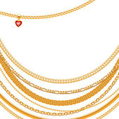 Assorted golden chains — Stock Vector