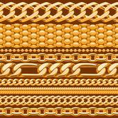 Diverse guldkedjor — Stockvektor