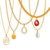 Set of golden chains — Stock Vector